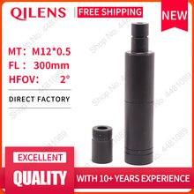 """QILENS objetivo de cámara CCTV, 300mm, formato de imagen de 1/3 """", larga distancia de visión, montaje M12, ángulo de visión Horizontal, enfoque Manual 1.15D"""