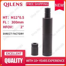"""Qilens 300mm cctv lente da câmera 1/3 """"formato de imagem longa distância de visão m12 montagem horizontal ângulo visão 1.15d foco manual"""