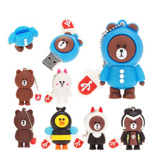New Rilakkuma Bear pen drive 4GB 8GB 16GB 32GB 64GB 128GB usb flash pendrive Cartoon USB 2.0 Memory Stick Brown Gifts