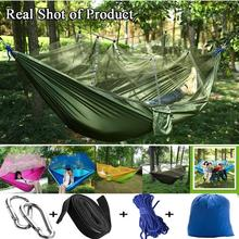 Double Hammock Portable Ultralight Mosquito net Parachute Hammock with Anti-mosquito bites for Outdoor Camping Tent
