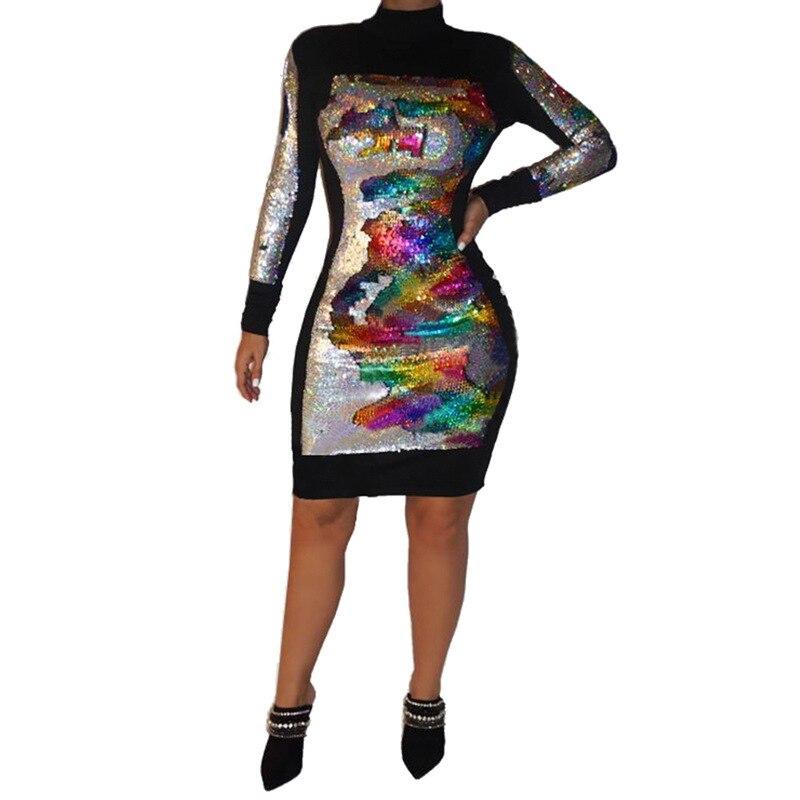 Plus Size Dresses For Women Long Sleeve Dress Short Elegant Trendy Chic Sexy Sparkling Sequin Dress Mini Frocks Office Autumn