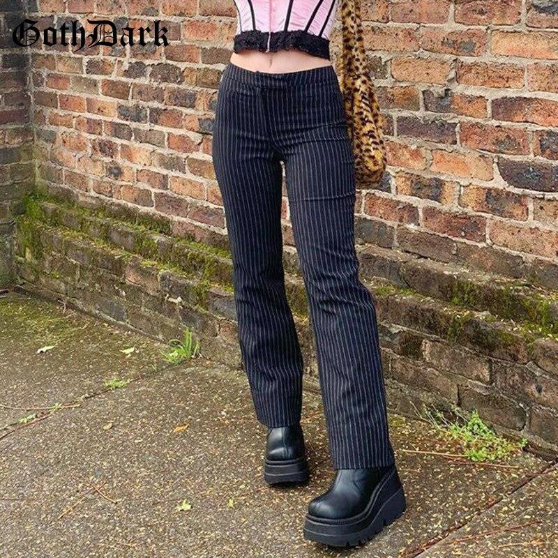 Goth Dark E-Girl Striped Print Gothic Suit Pants Black Slim High Waist Zipper Front Trousers Women Autumn Fashion Streetwear