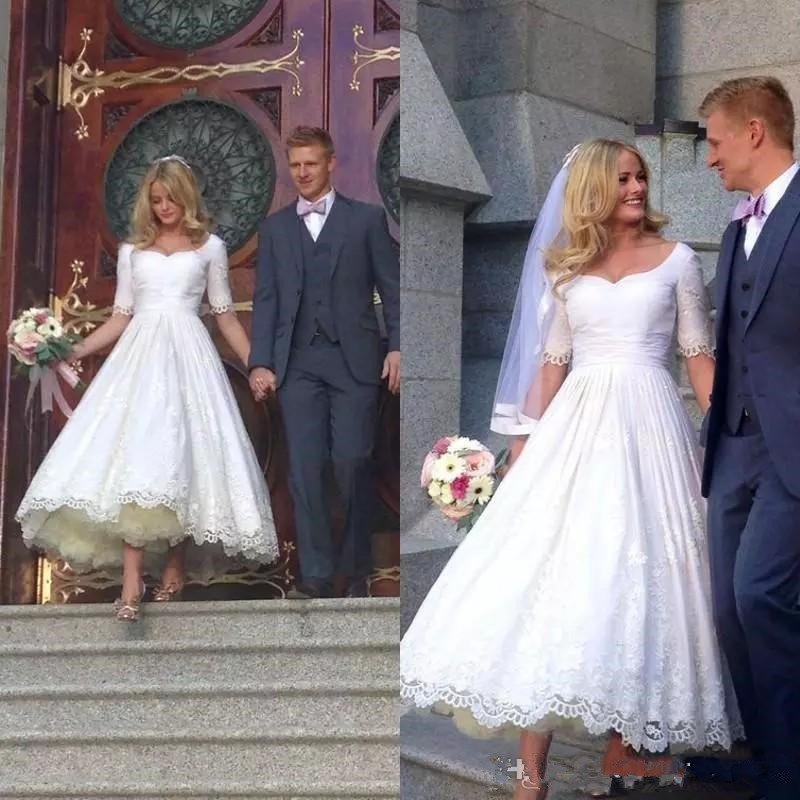 2020 Elegant Cheap Simple A Line Wedding Dresses Sweetheart Lace Appliques Half Sleeves Ankle Length Plus Size Wedding Dress