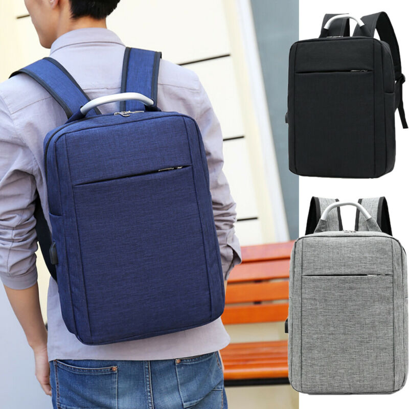 Anti-theft Men Womens Laptop Notebook Backpack+USB Charging Business School Bag Outdoor Travel Bag Oxford Waterproof