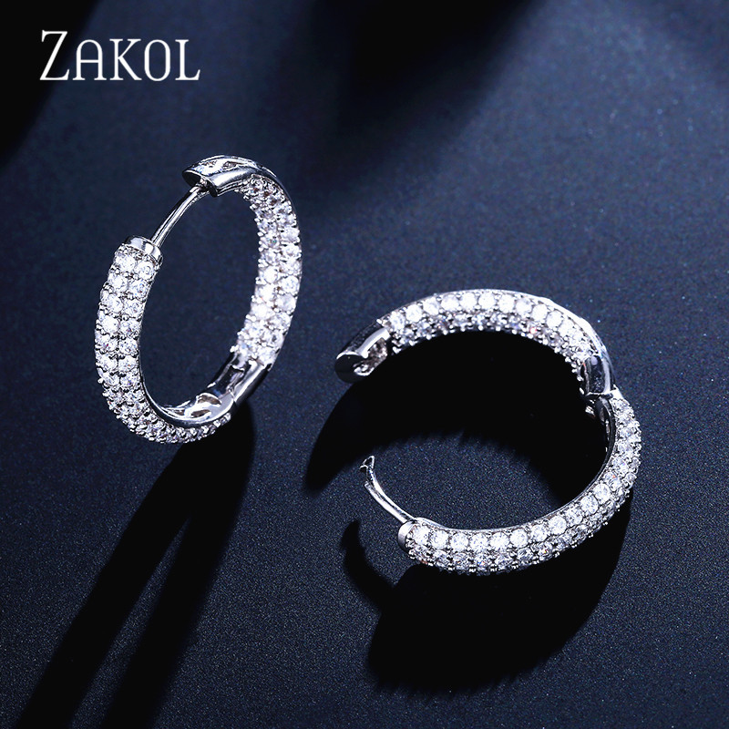 ZAKOL Luxury Round AAA Cubic Zirconia Micro Inlay Big Circle Hoop Earrings For Fashion Women Wedding Party Jewelry FSEP3012 in Hoop Earrings from Jewelry Accessories