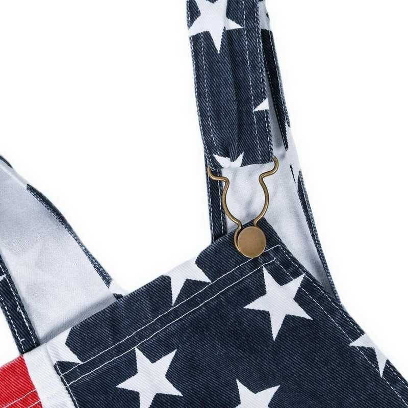 Bağımsızlık günü tulum kadınlar Casual tulum vatansever baskılı amerikan bayrağı çizgili tulumlar yaz kadın Unisex önlük kot