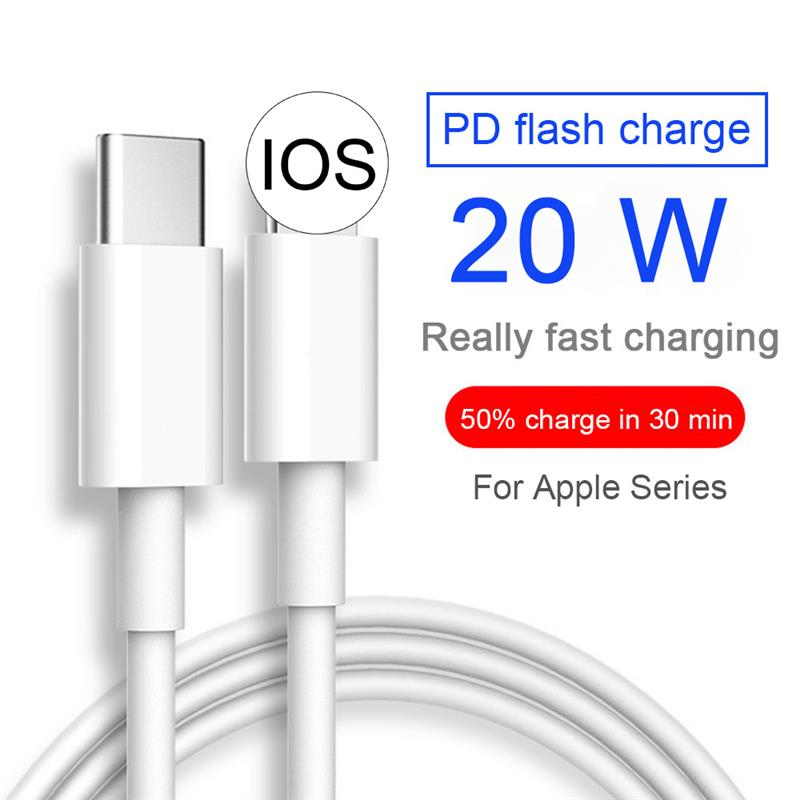 2021 carregamento rápido 20w USB-C tipo-c cabo cabo carregador para iphone 12 pro max mini 12pro 11 xs xr x se 2020 ipad carregamento fio