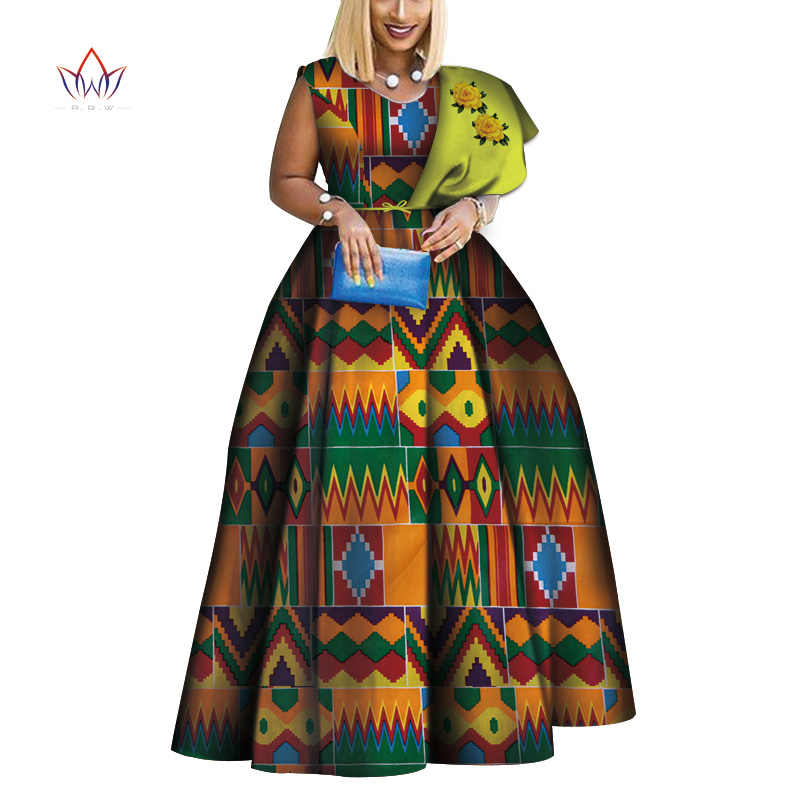 2019 New Dashiki African Print Dresses Bazin One-shoulder Party Dress  Vestidos Plus Size African Dresses for Women WY3834