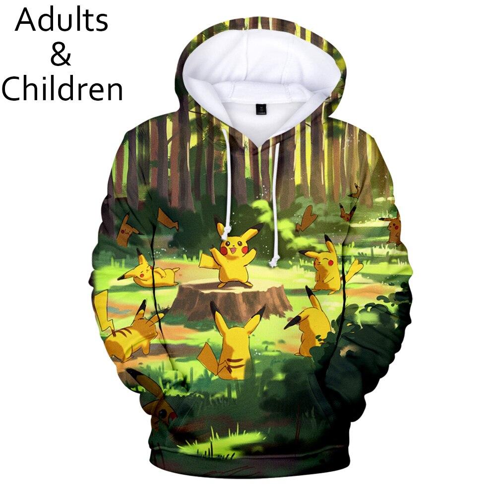 New 3D Pokemon Cartoon Men And Women Hoodies Hip-hop Children Spring And Autumn Warm Pullover Kids Fashion Sweatshirt