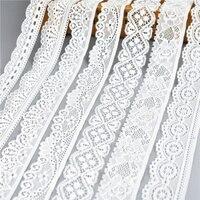 Cinta de encaje elástica blanca de alta calidad, adornos de ropa interior bordados para decoración de costura, tela de encaje africano, 5 yardas/lote