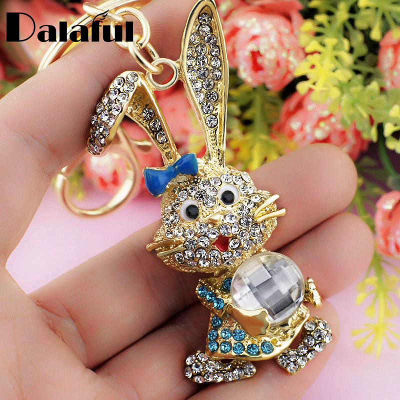 Dalaful Lovely Bowknot Rabbit Keychain Crystal Bag Pendant Key Ring Chains Holder Women Keyring For Car Fashion Jewelry K184