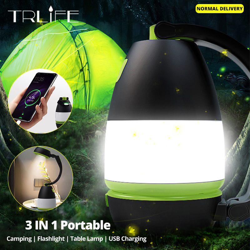 3In1 비상 조명 휴대용 캠핑 손전등 독서 책상 램프 다기능 USB 충전 랜턴 LED 야간 서치 라이트
