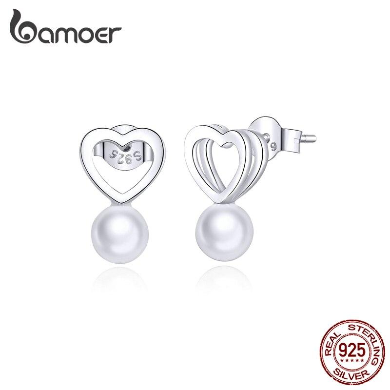 Bamoer 925 Sterling Silver Shell Pearl Heart Stud Earring For Women Minimalist Simple Design Fashion Jewelry Bijoux SCE869