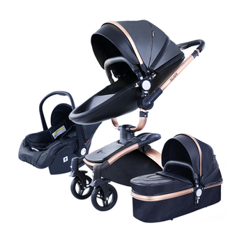 PU Leather 3 in 1 Baby Stroller High Landscape Portable Luxury Carriage Aulon Pram on 2020