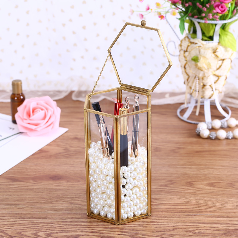 Vintage Metal Makeup Brush Holder Bucket Beauty Brush Container Cosmetic Pen Brush Container Desktop Storage Box without Brush Storage Boxes & Bins     - title=