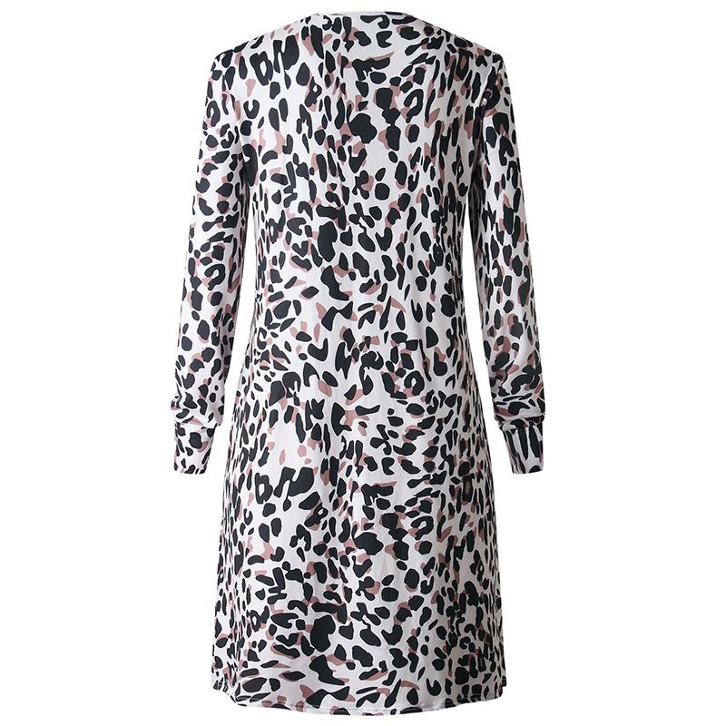 Womens Leopard Printed Kimono Blouse Cardigan Ladies Open Front Beach Long Coat Shirts Woman Long Sleeve Daily Blouse Shirt