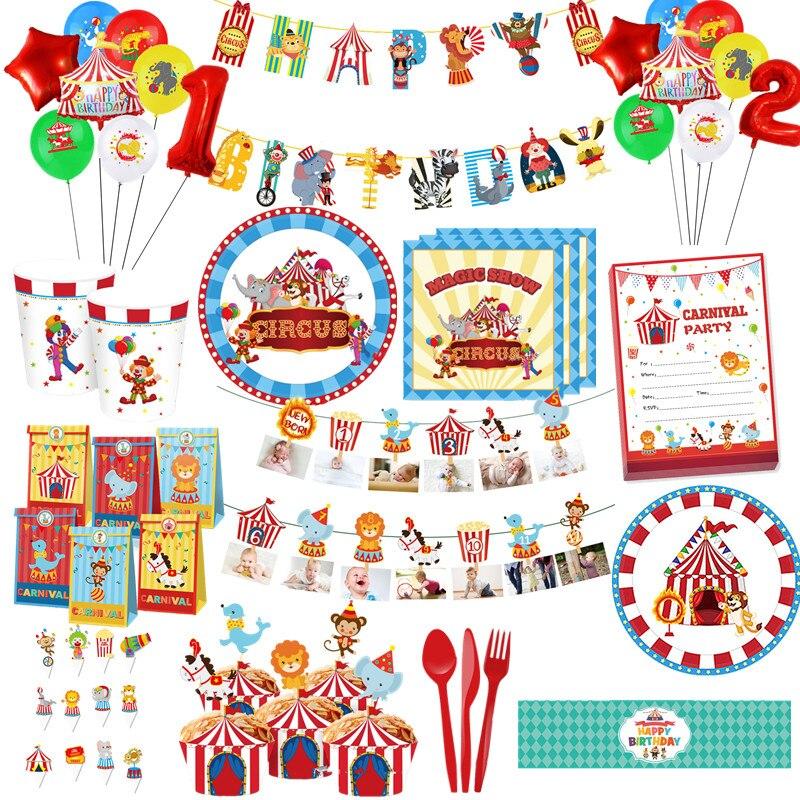 Цирковая тематика День рождения украшения одноразовые бумажные стаканчики и тарелки баннер цирк воздушные шары клоун принадлежности для в...
