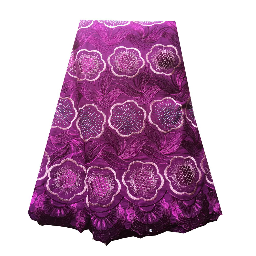 5 Yards magenta african swiss voile lace with stones nigerian lace fabrics high quality cotton lace fabric for wedding dress