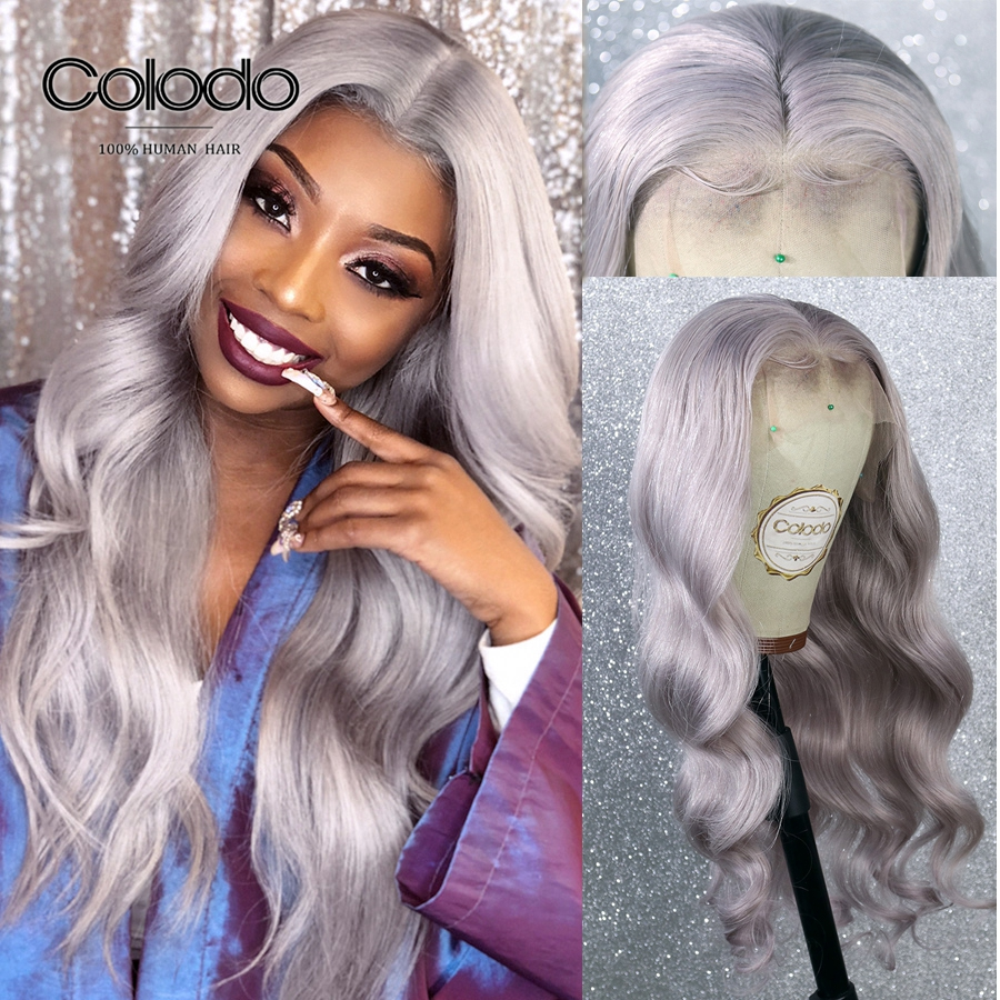 COLODO Grey Color 13x6 Lace Front Human Hair Wigs For Women Pre Plucked Ombre Lace Front Wig Remy Hair Brazilian Loose Wave Wig
