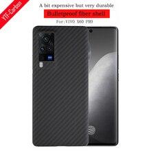 Ytf Carbon Carbon Fiber Telefoon Case Voor Vivo X60 Pro 5G Aramid Fiber Ultra Dunne Anti vallen Business Cover X60 Pro Shell