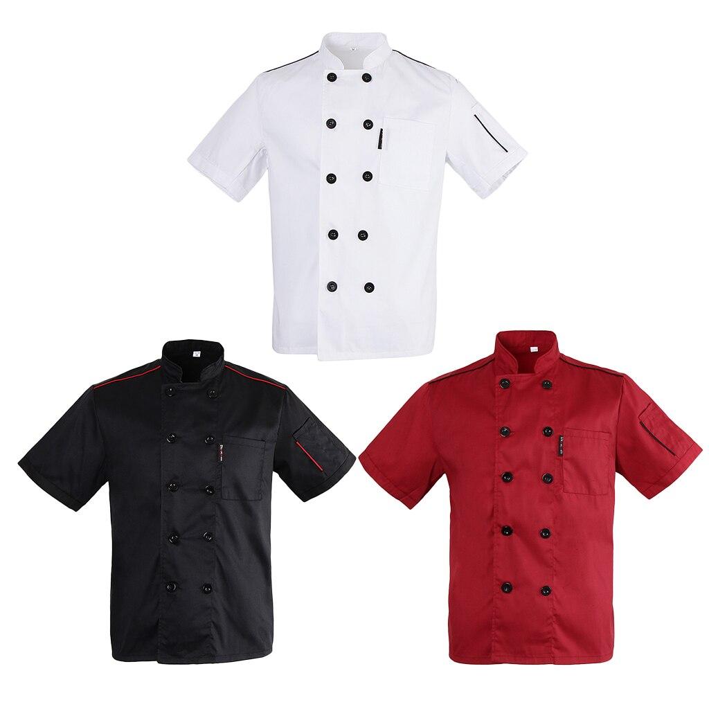 Unisex Adults Chef Jacket Coat Hotel Waiter Uniform Short Sleeves