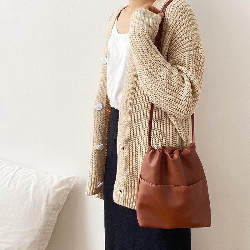 Image 3 - 2020 New Casual Women Bag Small Drawstring Bucket Bag PU leather  Soft Youth Handbag Ladies Crossbody Shoulder Bag Whole SaleShoulder  Bags