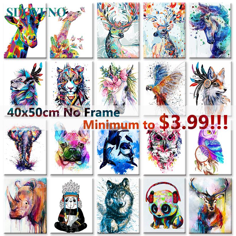 SDOYUNO 40x50cm Frameless DIY Painting By Numbers Minimalism Style Animals On Canvas Pictures By Numbers Home Decoration