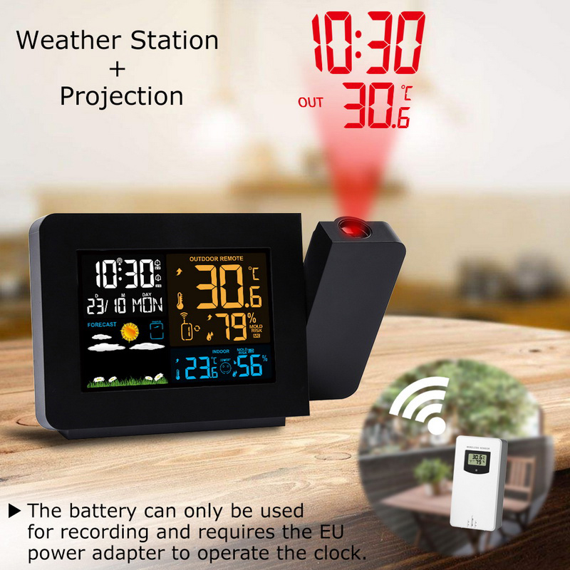 LED Alarm Projection Clock Thermometer Hygrometer Wireless Weather Station Digital Watch Snooze Desk Table Project Radio Clock