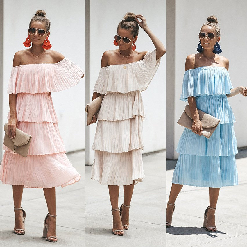 Women Summer Bohemian Ruffle Pleated Dress 2019 Vintage Sleeveless Beach Dress Sexy Off Shoulder A Line Party Night Midi Dress in Dresses from Women 39 s Clothing