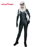 Black Cat Meow Cosplay Costume Black Bodysuit Jumpsuit Jumpsuit with Mask and Choker Woman Halloween Outfit