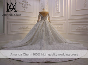 Image 5 - חלוק דה marier תחרה Applique פלאפי כדור שמלת סטרפלס חתונת שמלה