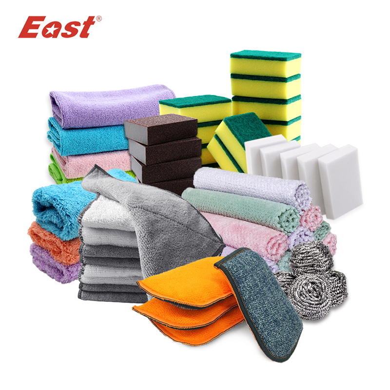 East High Quality Kitchen Cleaning Tools Washing Towels Wiping Rags Sponge Scouring Pad Microfiber Dish Cleaning Cloth