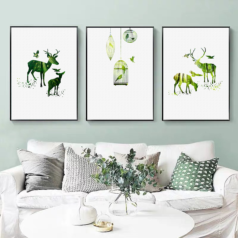 Green Cactus and Abstract Openwork Deer with Forest Posters and Prints Canvas Paintings Wall Art Pictures for Living Room Decor