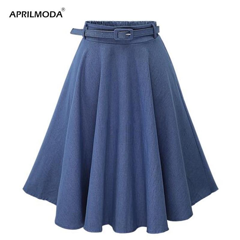 Летняя Повседневная Женская юбка, офисная одежда, Ретро стиль, Ретро стиль, высокая талия, плиссированная юбка миди, джинсовая Расклешенная