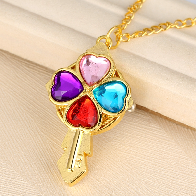 Luxury Crystal Heart Diamond Key Shaped Quartz Pocket Watch Magic Wand Necklace Pendant Clock  Chain Gifts For Women Girls Kids