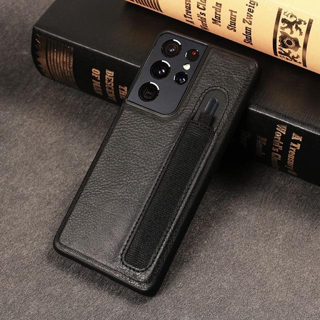 Stylus S עט שקע SPen חריץ מקרה לסמסונג גלקסי S21 Ultra S21U G9980 G998U G998D עור חזרה כיסוי עם כיס מחזיק