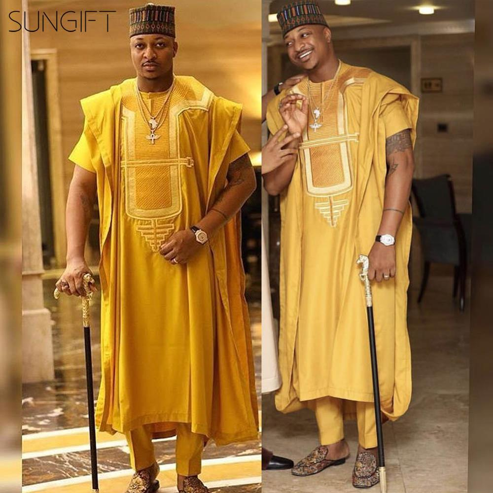 SUNGIFT Men's African Pattern Short Sleeve Agbada Dashiki Top Yellow Shirts And Pants Plus Size Comfortable Outfits 3 Pieces