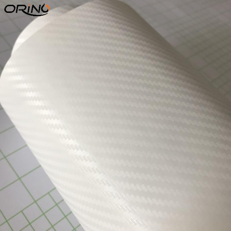 White 3D Carbon Fiber Vinyl Wrap Sticker-3