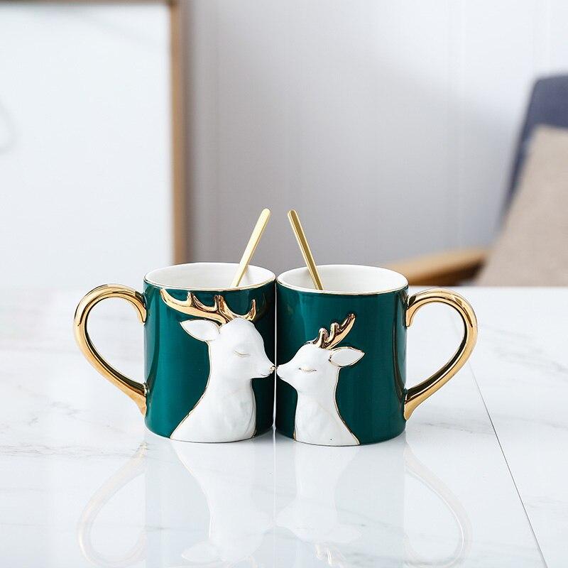 Cartoon deer schönheit Keramik kaffee becher kreative reise becher kaffee tasse emaille becher Geschenk Box Mit Deckel Europa weihnachten tassen 50mk56 - 6