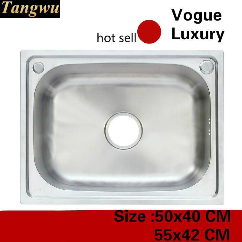 Free Shipping Apartment Do The Dishes Luxury Kitchen Single Trough Sink Vogue 304 Stainless Steel Hot Sell 50x40/55x42 CM