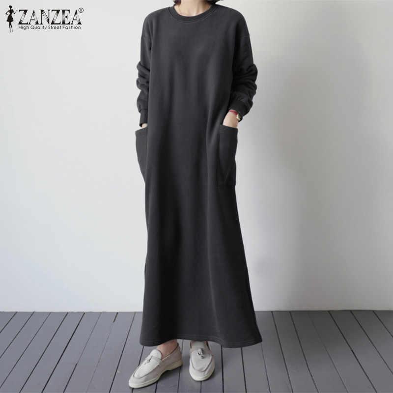 נשים של שמלת ZANZEA 2020 אופנה ליידי ארוך סווטשירט Vestidos מזדמן ארוך מקסי שמלה קיצית בבאגי כיסי שמלות פיצול חלוק 5XL 7