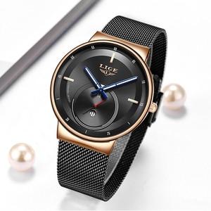 Image 5 - LIGE женские модные часы, креативные Женские повседневные часы из нержавеющей стали с сетчатым ремешком, стильные дизайнерские Роскошные Кварцевые часы для женщин 2020