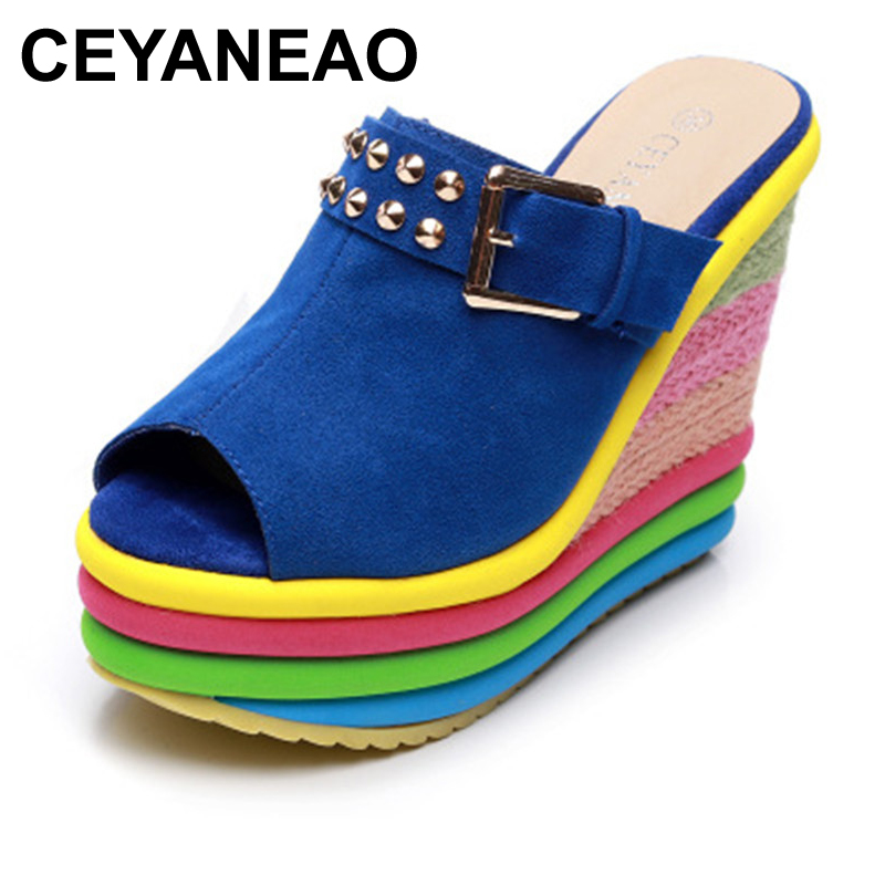 Hot Sale Colorful Leisure Women Wedges Shoes 2019 Summer Sandals Woman Sexy Mules Party Platform High Heels Shoes WomanE169