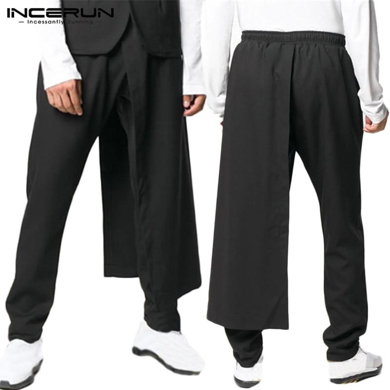 INCERUN Men Fashion Harem Irregular Pants Solid Color  Elastic Drawstring Long Trousers Streetwear Punk Stylish Slim Pant