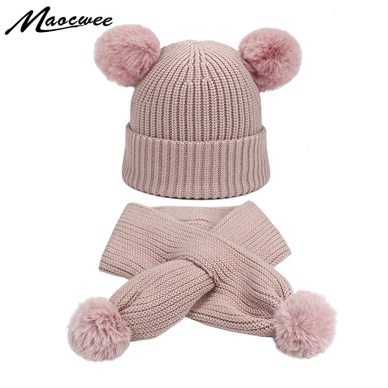 Children Two-piece Scarf Hat Set Women Hat PomPon Knitted Skullies Beanies Cap Autumn Winter Warm Unisex Solid Color Raccoon