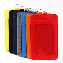 Badge-Holder-Accessories Double-Card-Sleeve Pu-Leather-Material Credit-Card Clear Luxury