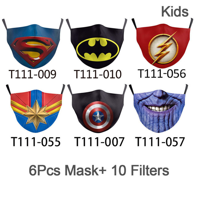 NADANBAO 6 Pcs Sets Superhero Kids Adult Mask Superman Captain Print Face Cosplay Masks Reusable Children Mask Fabric Mask 3