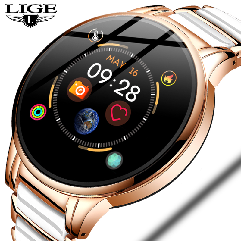 LIGE Fashion Women Smart Watch Heart Rate Blood Pressure Sleep Monitoring Multifunctional fitness tracker Waterproof Smartwatch 1