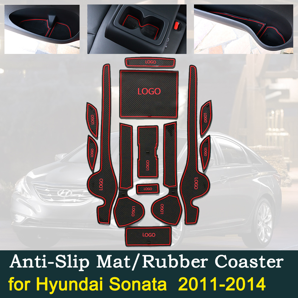 Anti-slip Door Rubber Cup Cushion For Hyundai Sonata YF I45 2011~2014 2012 2013 Hot Sale Red Groove Mat Car Interior Accessories