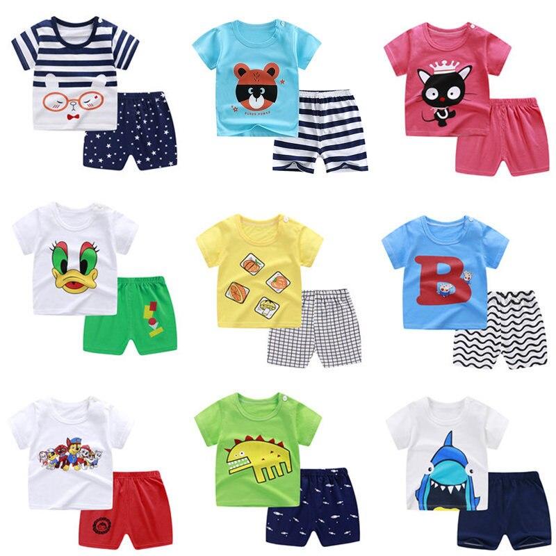 baby girls clothes new summer children boy clothing set cartoon cotton t shirt+shorts suits for kids boy